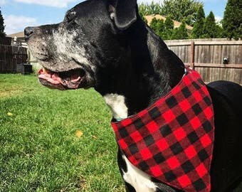 Buffalo Plaid Dog Bandana Cat Bandana Pet Bandana Buffalo Plaid Dog Collar Pet Cat No Tie Reversible Clothes 3 Sizes Valentine's Lumberjack