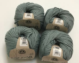 Natura XL Bulky Cotton Yarn in Gray Green // 4 Skein Pack // Stash Sale