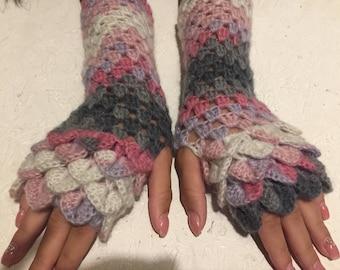 dragon scale gloves Fingerless  Gloves women fingerless gloves crochet women's gloves dragon scale women's Arm Warmers gift Accessory