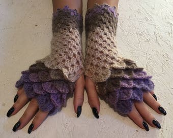 women gloves Fingerless crocodile stich women fingerless gloves dragon scale crochet women's gloves women's Arm Warmers  gift Accessory