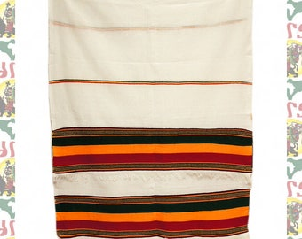 Ethiopian Traditional Woven Cotton Shawl (Scarf-a23)