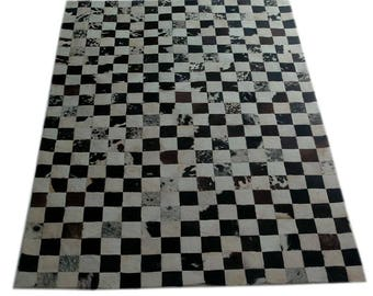 Handmade Cowhide Patchwork Rug - Beautiful Hair On Carpet - Luxurious Rug - R-07