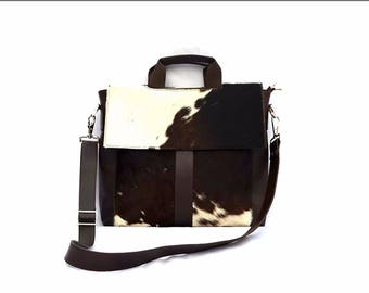 Western Cowhide 15'' Computer Business Briefcase Shoulder Laptop Bag -05