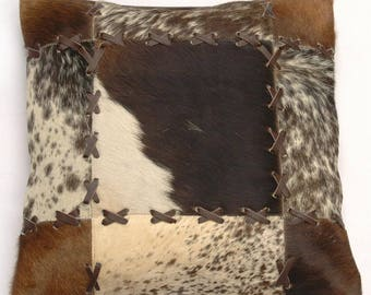 Natural Cowhide Luxurious Patchwork Hairon Cushion/pillow Cover (15''x 15'')a211