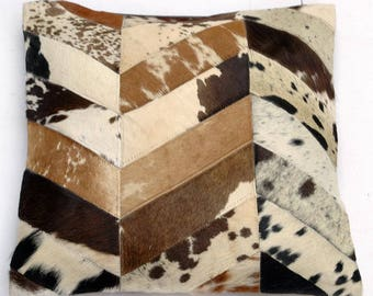 Natural Cowhide Luxurious Patchwork Hairon Cushion/pillow Cover (15''x 15'')a272