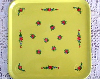 Vintage Metal Square Yellow Tray With Red, Green, and Blue Floral Design