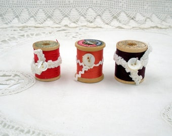 Vintage Wooden Spools of Thread-Set of Three-Red, Orange, Burgundy