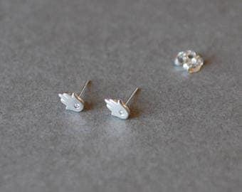 Silver Hamsa Hand Stud Earrings with CZ Hand of Fatima Stud Earrings -  Sterling Silver