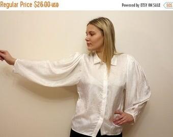 ON SALE Ivory White Silky Blouse Womens Shirt Crinkled Top Long Full Sleeve