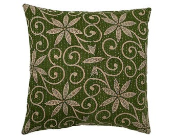 Kantha Cushion Cover - Green with Off White Flowers