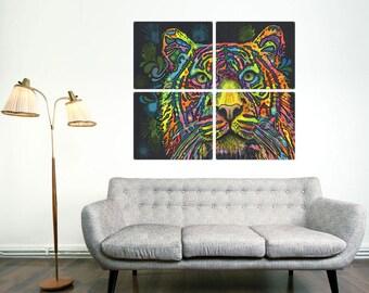 Tiger Big Cat Dean Russo Quadriptych Metal Wall Art Pop Art