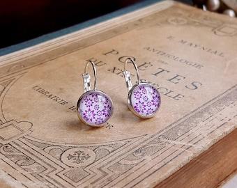 Violet flower earrings Silver leverback earrings Cabochon earrings Gift under 10
