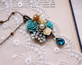 Turquoise flower assemblage necklace Vintage inspired Aqua blue Rhinestone pendant Mother's day gift
