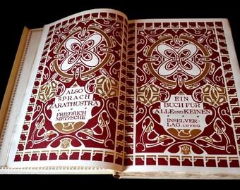 Rare Book Also Sprach Zarathustra, Friedrich NIETZSCHE, Art Nouveau Artwork van der Velde  No. 360 out of 530