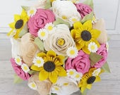 Paper Flower wedding bridal bouquet alternative sunflower roses bright festival english country garden pink yellow