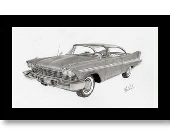Pencil drawing of a 1958 Plymouth Fury