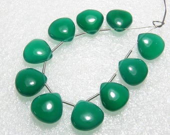 Green Onyx - 5 Matching Pairs - Smooth - Heart Shape - size 12x12 mm