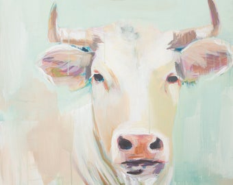 a rustic abstract cow bull in neutral tans white blue and green farmhouse art print
