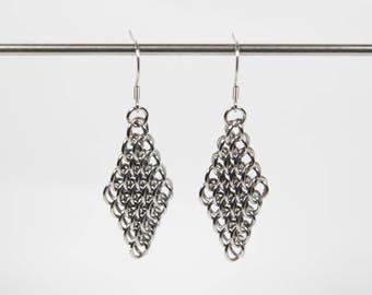 Dragonscale Earrings, Chainmaille Earrings, Stainless Steel, Chainmail Earrings, Maille Earrings, Drop Earrings, Dangle Earrings