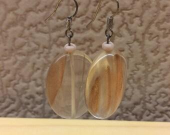 Vintage Handmade Golden Rutilated Quartz Gemstone Huge Beaded Earrings