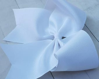 White Cheer Bow - White Cheer Hairbow - Solid Cheer Bows - Cheerleader Hair Bow -