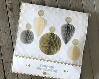 Talking Tables Honeycomb Baubles, Party Decorations, Silver and Gold Tissue Decor, Wedding, Holiday Party Supplies