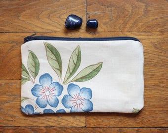Pochette en coton beige fleurie
