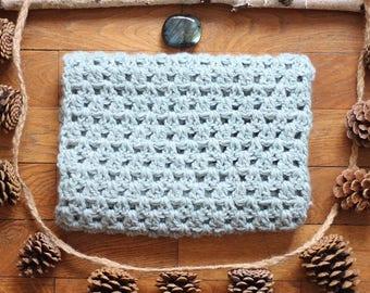 Snood soft crocheted scarf - light blue