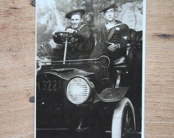 United States Navy Sailor Driving Automobile Studio Portrait Real Photo Postcard RPPC