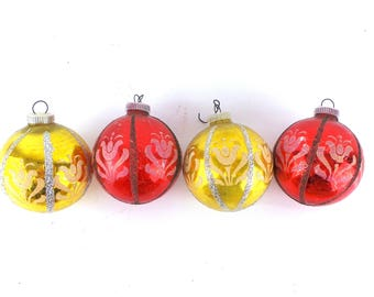 4 Vintage Glass Ornaments, Vintage Ornaments, Christmas Ornaments