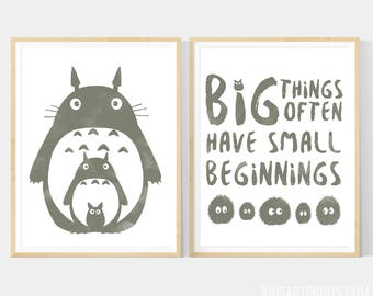 Totoro Art Printable, My Neighbor Totoro Poster Set With Totoro,  Big Things Often Have Small Beginnings, set of 2 - 12x16 Files