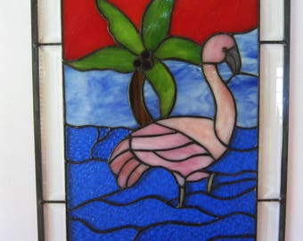 """Pink Flamingo"""" Stained Glass Panel 19 12"""" x 14 1/2"""" Island Life, Palm Tree, Florida, Tropicals"""