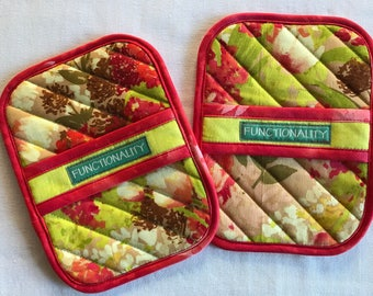 Pair of Quilted Potholders, Handmade Pot Holders, Hot Pads