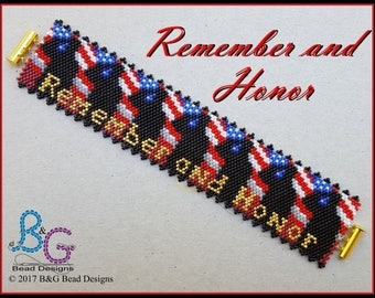 REMEMBER and HONOR Peyote Cuff Bracelet Pattern
