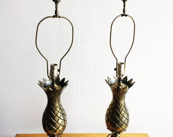 RESERVED FOR ANNA**Pair of Brass Pineapple Lamps