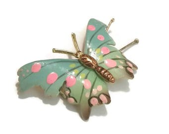 Vintage BUTTERFLY BARETTE 70s PASTEL Hair Clip Hand Painted Butterfly Figural Barette 1970s Korea Hair Accessory Ornament Jewelry Gift Her