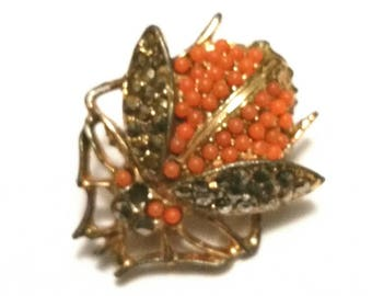 Orange & Black Fly Brooch Mid Century Flying Beetle Insect Broach Bug Animal Lapel Scarf Pin Seed Pearl Marcasite Creepy Goth Jewelry Gift