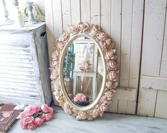 Shabby Chic Oval Blush and Gold Vintage Rose Mirror, Pink and Gold Oval HOMCO Floral Ornate Mirror, Blush Pink Nursery Mirror