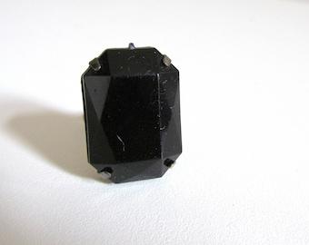 1960s black faceted black agate ring