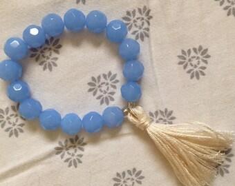 Rock Candy Beaded Bracelet in Opaque Aqua