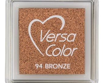 Small ink pad bronze, Versacolor inkpad, Versacolor bronze small, pink inkpad, yellow, craft supplies, rubber stamps, ink pad for paper