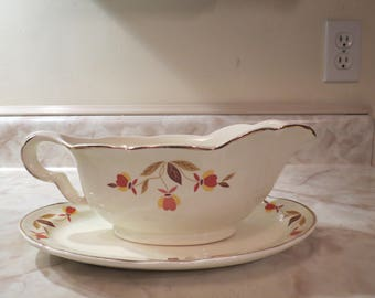Hall's Jewel Tea Gravy Boat with Plate