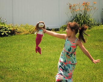 Pink Mermaid Doll - Pink Mermaids Doll - Toy Mermaid - Crochet Mermaid Doll - Knit Mermaid Doll - Pink Stuffed Mermaid Doll - Stuffed Dolls