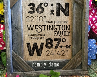 Framed Burlap House Warming Gift | Personalized Family | Latitude Longitude | Barn Wood Frame | 11x14 | 8x10  | Burlap Print | GPS 108
