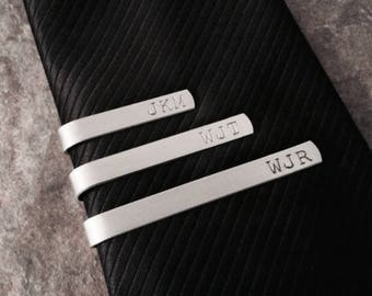 Personalized Tie Bar Clip, Groomsmen Gift, Wedding Party Favor, Father of the Bride, Father's Day, Gift for Dad, Hand Stamped Aluminum