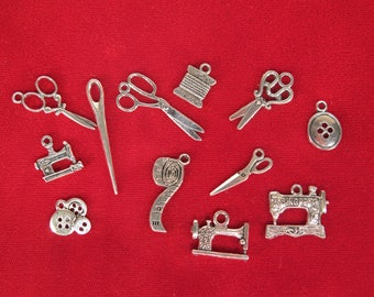 """SET! 12pc """"sewing"""" deluxe charms set in antique silver style (BC1307)"""