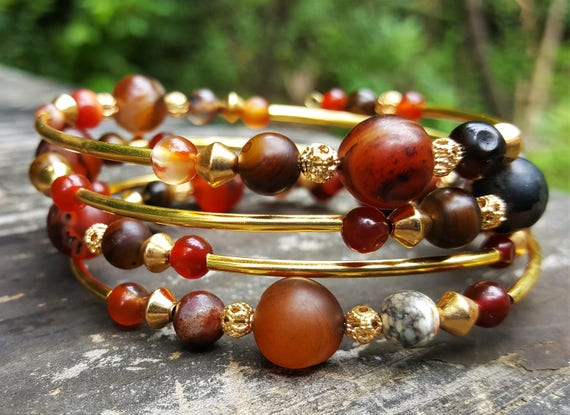 Del's Agate Meditation Memory Wire Bracelet