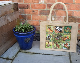 Woodland Animals Jute Bag, Woodland Animals Bag, Forest Animals Bag, Countryside Animals Bag, Shopping Bag, Handmade Woodland Animals Bag