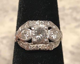 Vintage wg Diamond ring low profile 14k 1ct twapx
