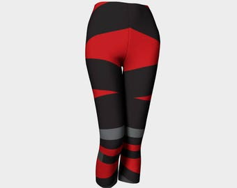 Capris, Red, Black and Gray